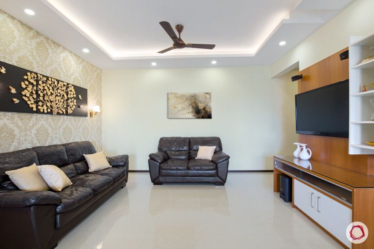 interior living room with leather sofas