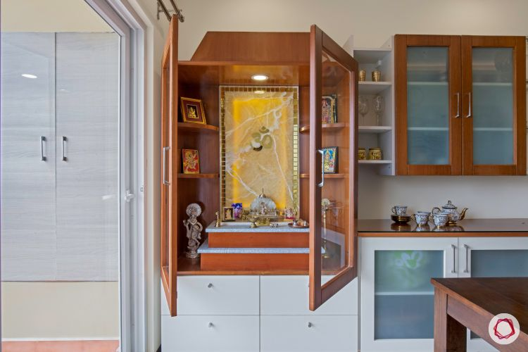 interior pooja unit with onyx panel backlit