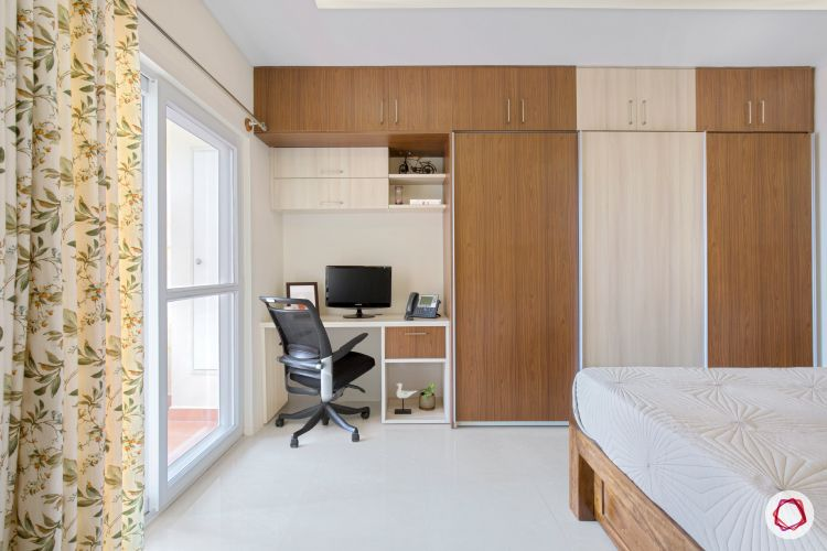 interior wardrobes in master bedroom with veneer and acacia finish with a study
