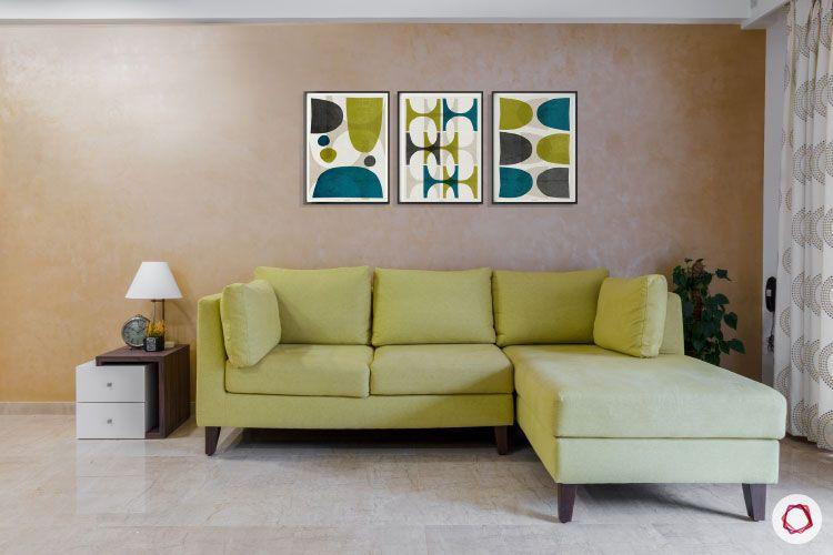 Small home design_lime green sofa