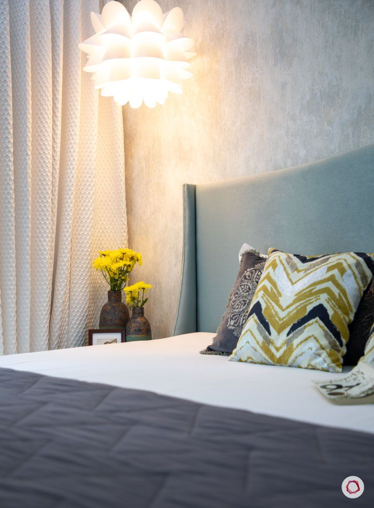 Small home design_master bedroom bed with light