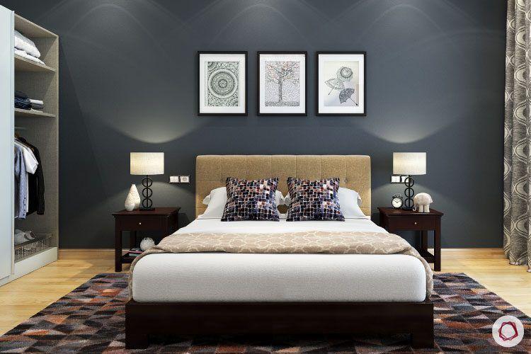bedroom-lighting-navy-blue-wallpaper