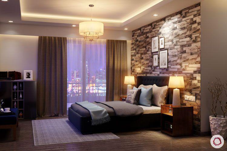 bedroom-lighting-brick-wallpaper