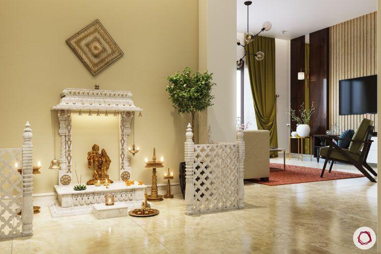 Home temple-pooja corner-white pooja unit