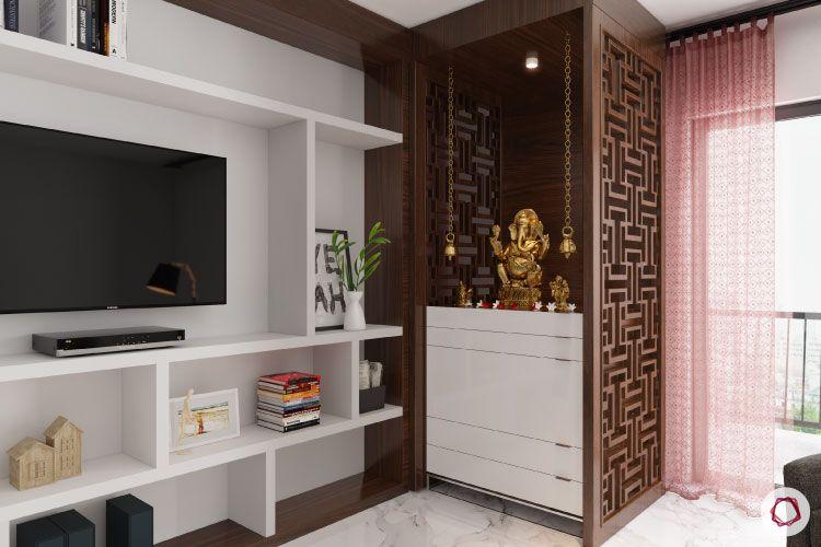 lattice panels-ganesha idol-tv unit-white shelves