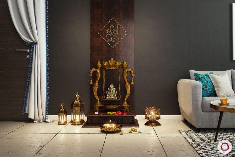 Home temple-simple design-ganesha idol-wood panel