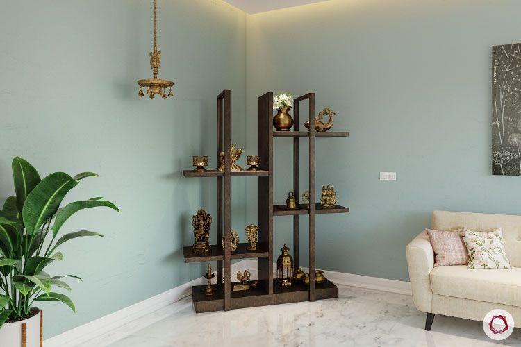 display cum pooja-wooden unit-hanging lamp