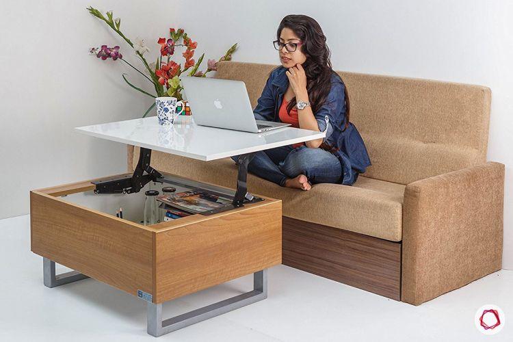 Space saving furniture_coffee table open