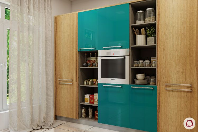 modular kitchen cost-tall unit-storage-microwave unit