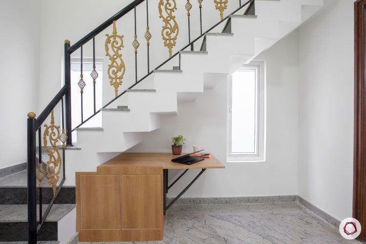 villas-in-bangalore-staircase-storage-table