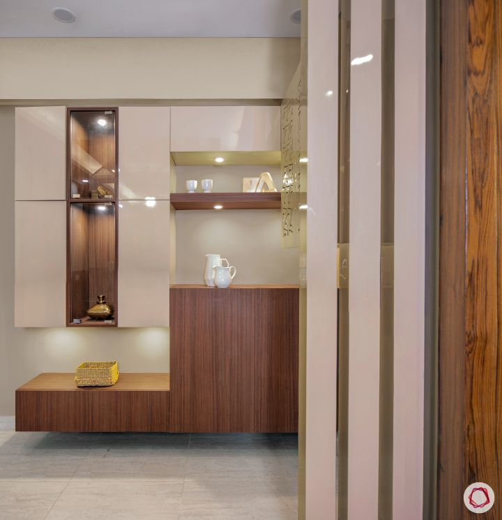 3bhk flat_dining room crockery unit-wooden-storage-spotlights