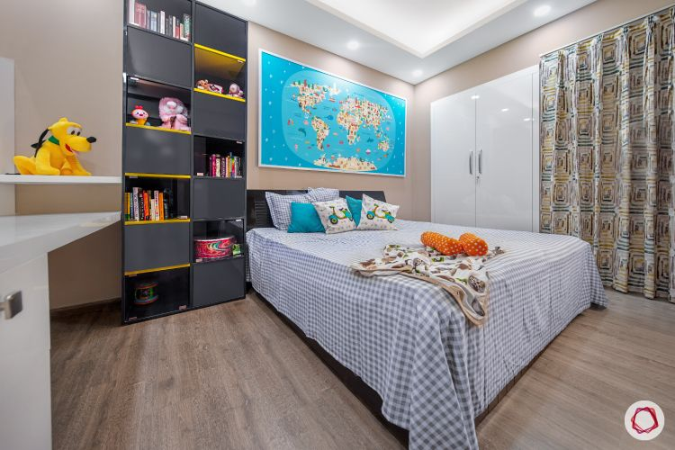 kids-bedroom-shelf-world-map-wardrobe-bed-table