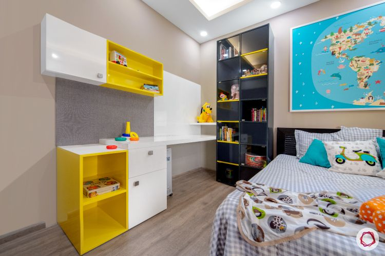 kids-study-table-bookcase--grey-yellow-bed