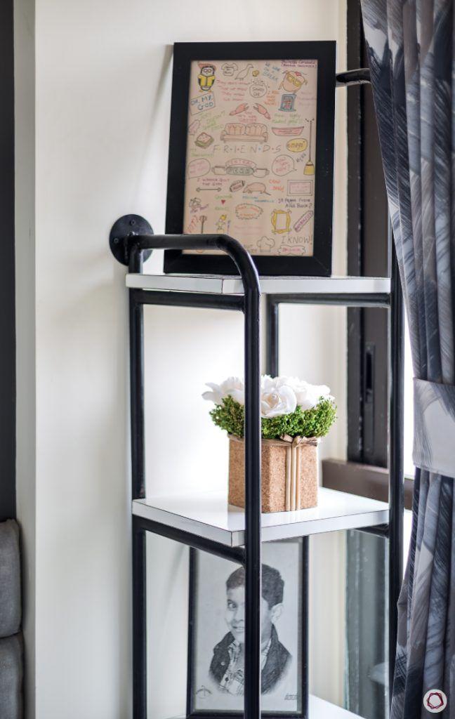 interior design ideas Indian style metal shelf