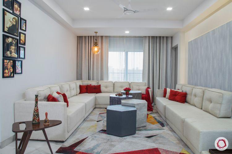 best home design white red living room