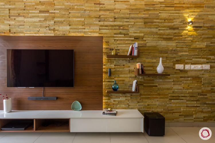 2bhk house plan living room shelves