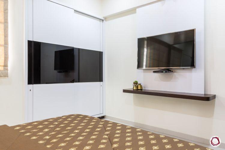 Interior design for 1bhk flat_bedroom tv unit