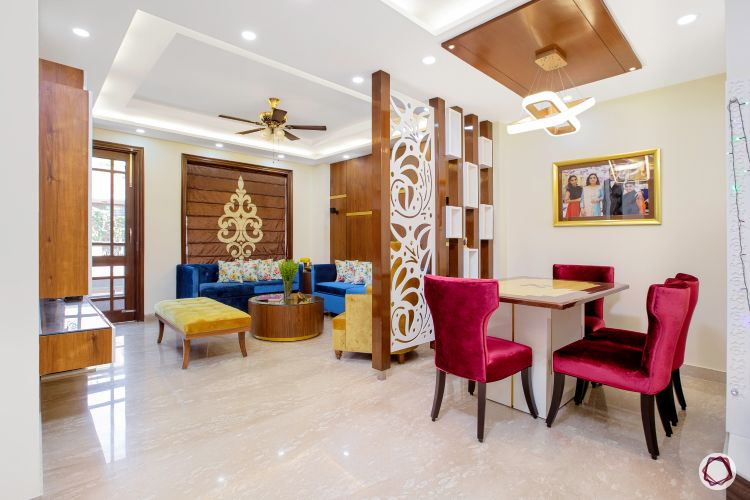 3BHK plan dining room and living