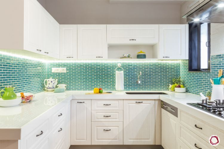 kitchen interior-overview-green backsplash-lighting