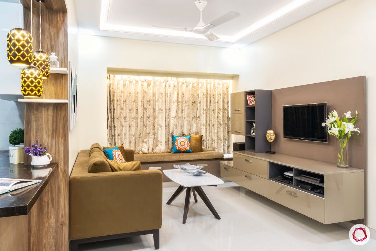 interior design 2 bhk furnished_brown sofa designs-pendant light designs
