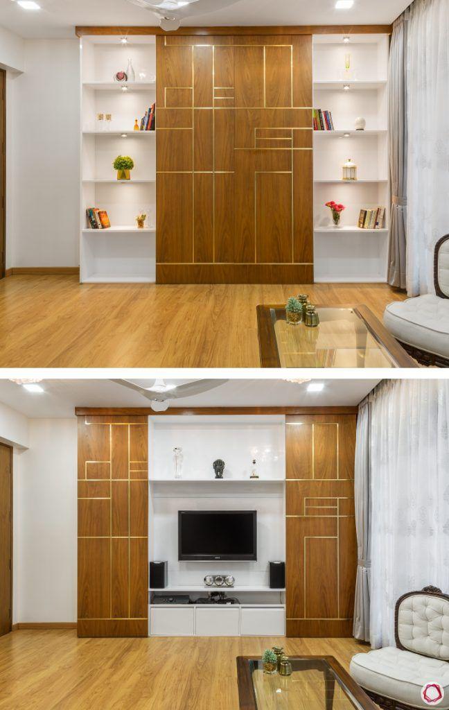 Wall Shelves for Living Room sliding doors