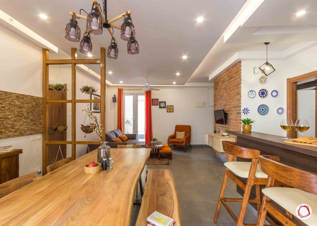 Best interior designers in bangalore_industrial-light-wooden-table-bench