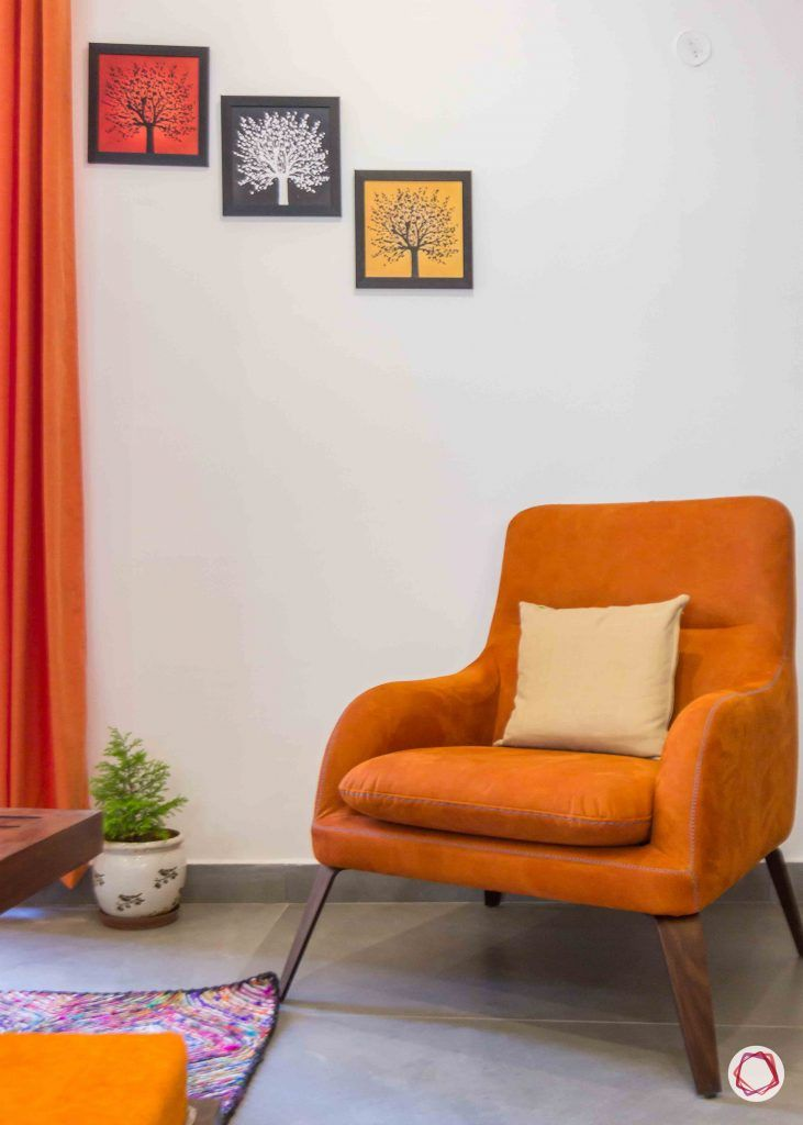 Best interior designers in bangalore_orange-armchair
