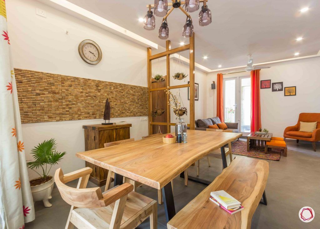 Best interior designers in bangalore_dining room-industrial-wooden-bench