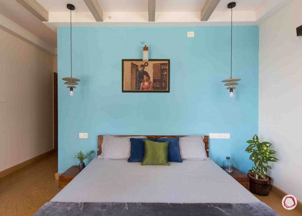 master bedroom-blue-wall-pendant-light-plant