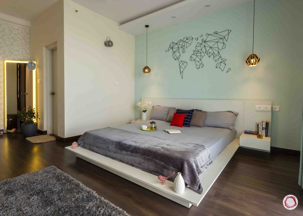 modern house design bedroom world map