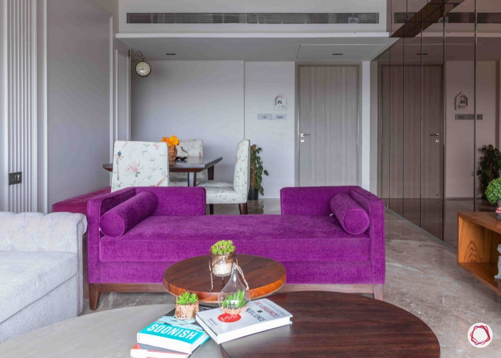 apartment design_purple sofa design-wall moulding designs