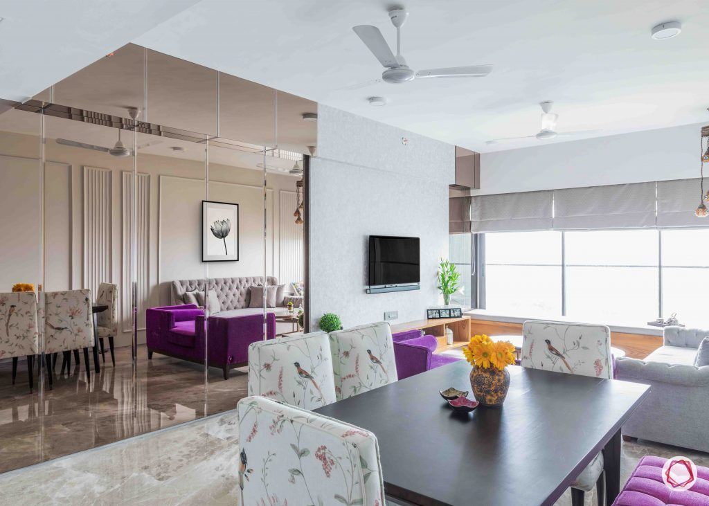 apartment design_mirror panel designs-dining set with bench