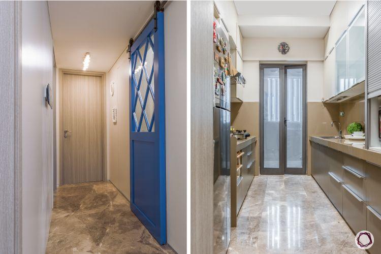 apartment design_blue door designs-brown kitchen designs