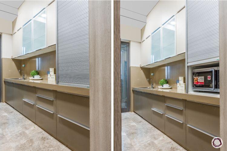 apartment design_coffee coloured kitchen-roller shutter for kitchen