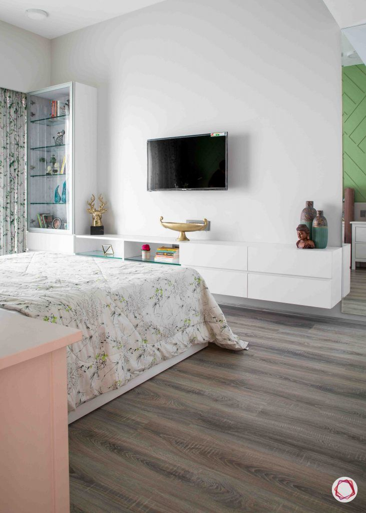 apartment design_wooden flooring design-white tv unit designs