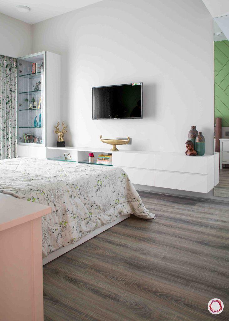 apartment design_wooden flooring design-white tv unit designs