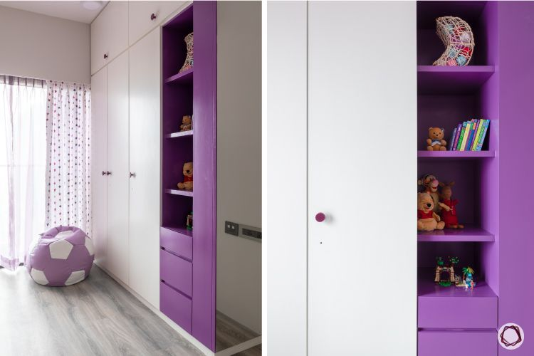 apartment design_purple wardrobe designs-open shelf designs