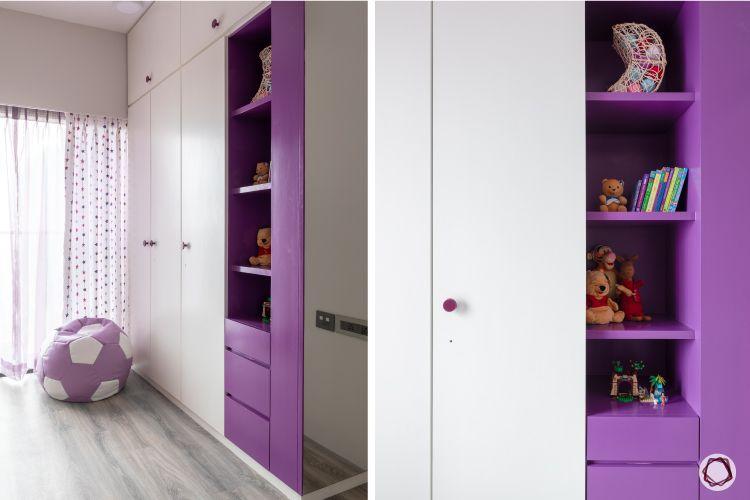 apartment design_purple wardrobe designs-open shelf designs