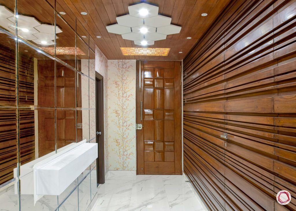 Vastu for entrance_wooden panelling