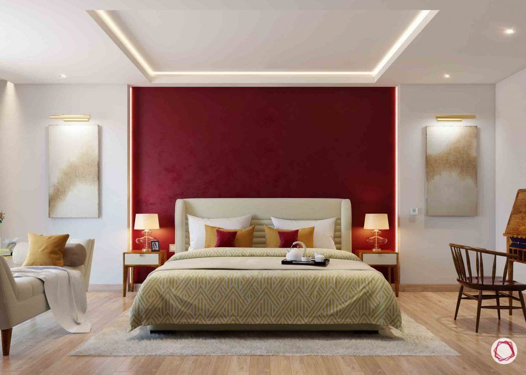 red accent wall-dark red wall colour
