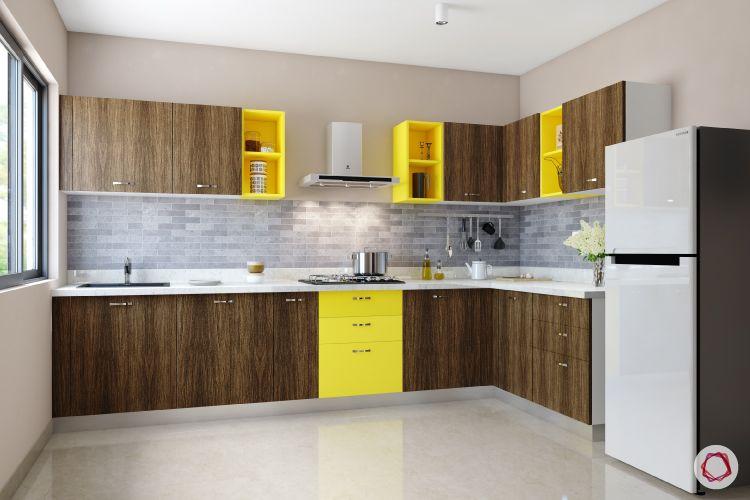 modular kitchen cost-kitchen cabinets-splash of yellow-handles
