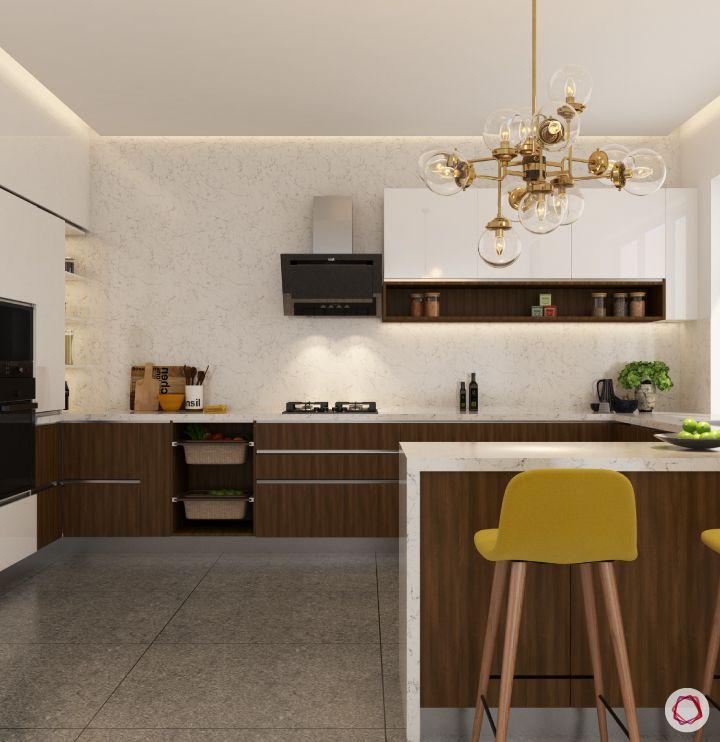 Room decor_glass chandelier in kitchen