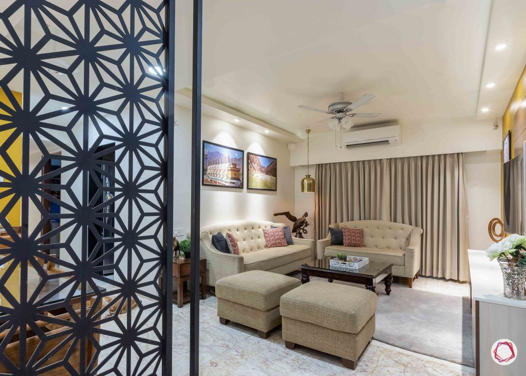 home interior-living-jaali partition-neutral sofa