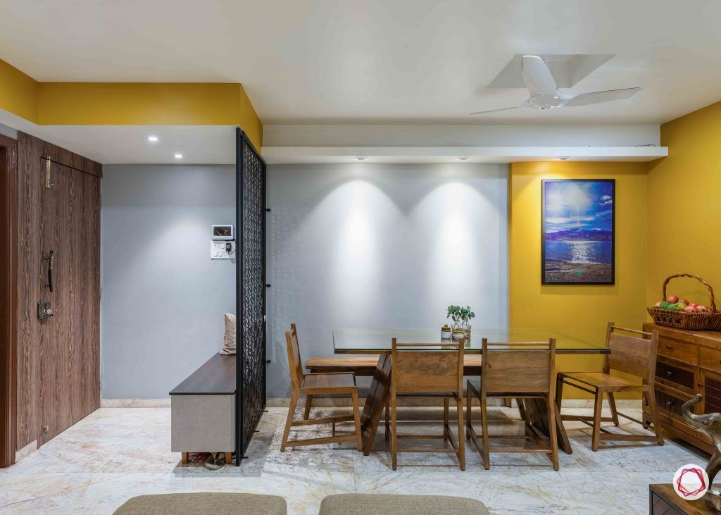 yellow wall-wooden furniture