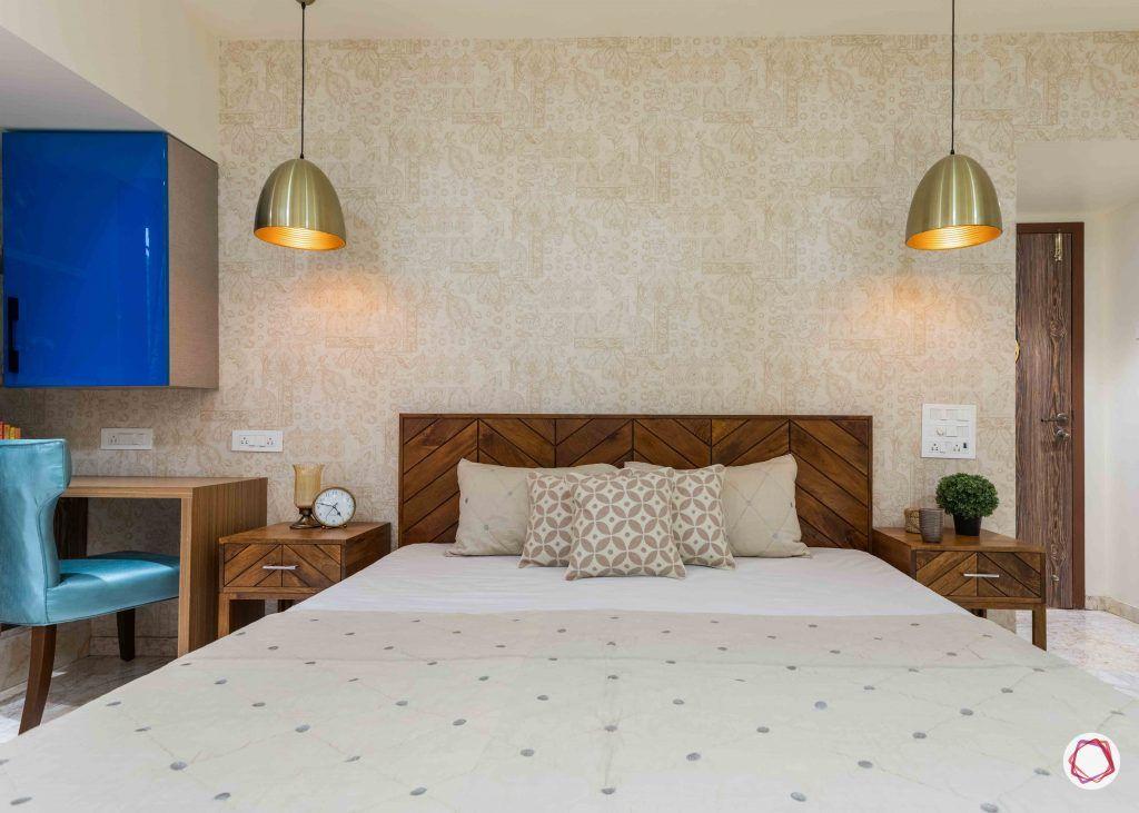 home interior-master bedroom-beige wallpaper