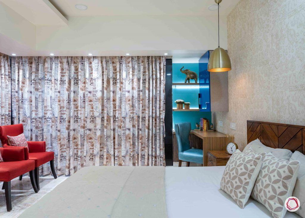 home interior-master bedroom-blue display unit