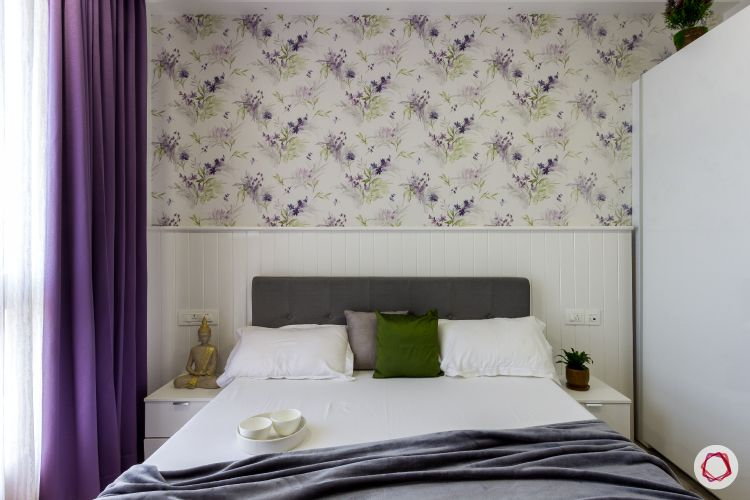 house photos-bedroom-white panel-floral wall