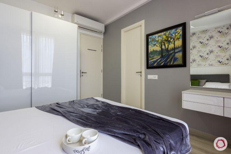 house photos-bedroom-grey wall-white wardrobe