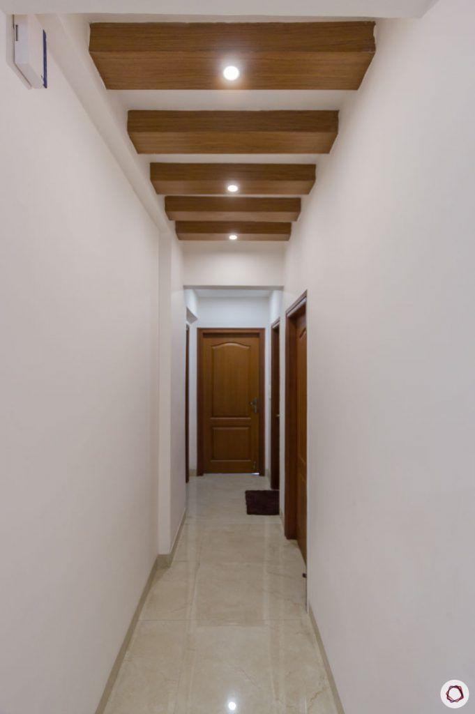 modular kitchen photos wooden rafters passage