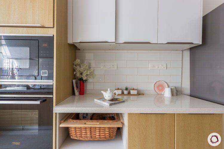 modular kitchen photos wicker basket